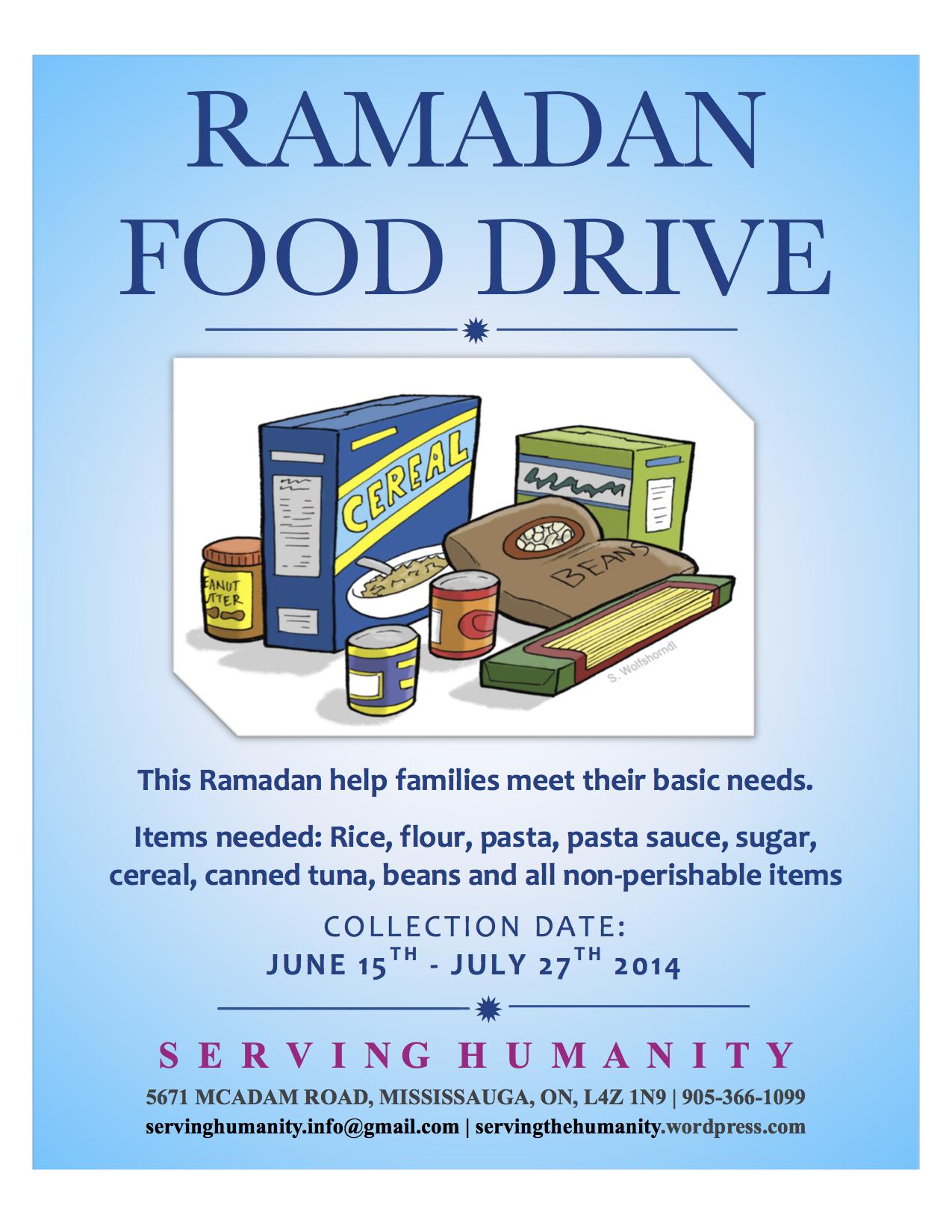 Ramadan Food Drive Flyer 2014
