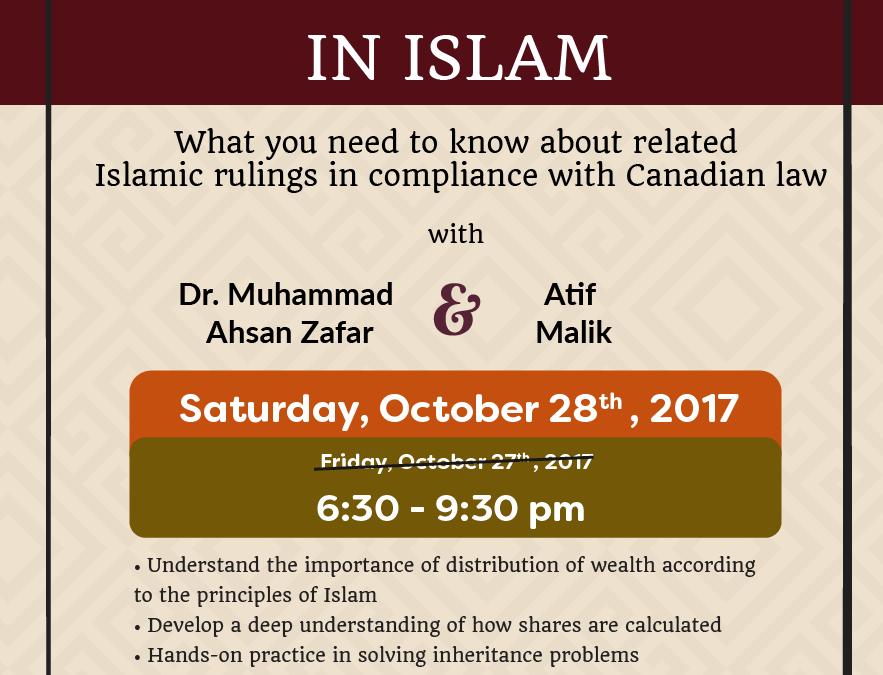 *Date Change* Inheritance in Islam Workshop Sat. Oct. 28 @ 6:30pm
